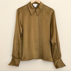 Christian Dior Silk Olive Brown Button Down Top 10